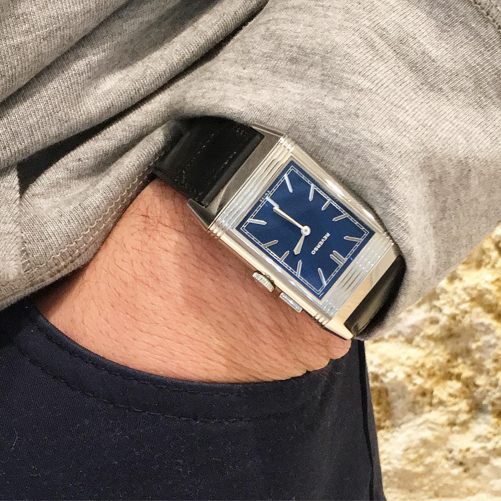 Montre occasion Jaeger LeCoultre Grande Reverso Ultra Thin Duoface Bleu.
